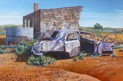 Wreckollections, Silverton NSW 2. Acrylic on Canvas, 750 x 500 mm.