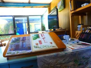 The artists studio, watercolour in progress