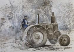Milang tractor, mixed media experiment