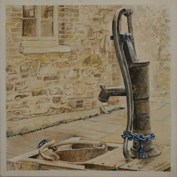 'Old Pump at Willunga Courthouse': acrylic on canvas, SOLD