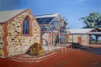 Early morning at Chapel Hill Winery. Acrylic on canvas, 1000mm x 700mm: SOLD