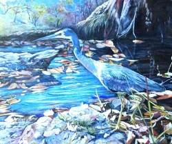 'The Young Hunter' acrylic on canvas. 700 x 450 mm. Donated and raffled.