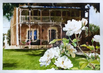 Rose Eden House, Goolwa Watercolour: 40 X 50 mm framed. SOLD