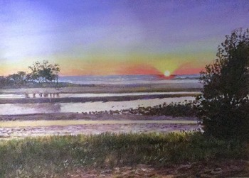 Sunset at Hastings Point, NSW Acrylic on canvas: 400 X 300 mm. SOLD