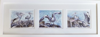 "'Get Down Man"" mono-triptych, watercolour, 500 X 180 mm framed. SOLD"