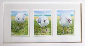 'That's mine' : Mono-Triptych, watercolour, 420 X  200 mm framed SOLD