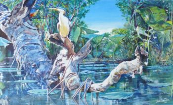 'Life on Mary River, NT' acrylic on canvas, 700mm x 550mm SOLD at silent auction
